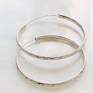 Jewelry - New 925 sterling silver hoop earrings 45mm